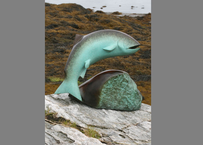 Laurence Broderick salmon fishing wildlife sculpture